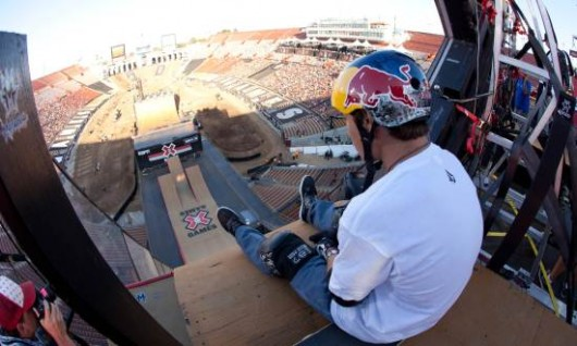 July 29, 2010 - Los Angeles, CA - LA Memorial Coliseum: Pedro Barros ponders and prepares to drop into the Mega Ramp for the Big Air Finals at X Games 16.